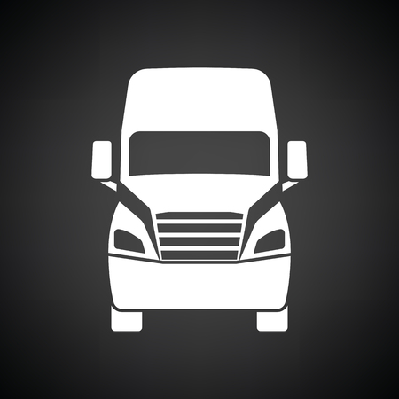 Truck icon front view. Black background with white. Vector illustration.