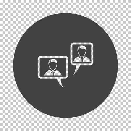 Chat icon. Subtract stencil design on tranparency grid. Vector illustration.