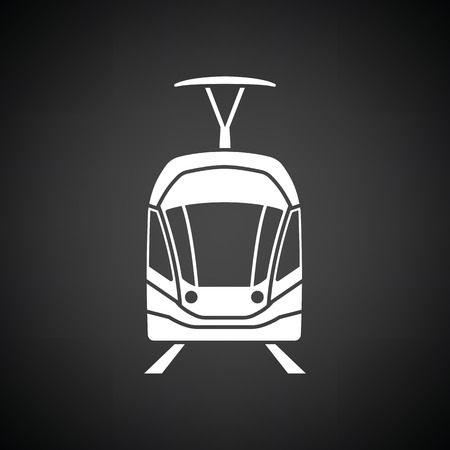 Tram icon front view. Black background with white. Vector illustration. Illustration