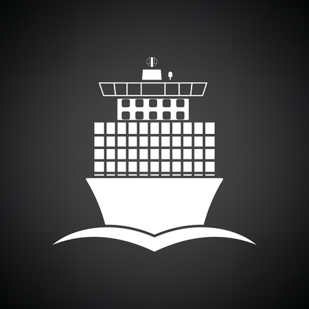 Container ship icon front view. Black background with white. Vector illustration.