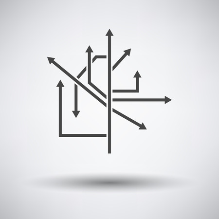Direction Arrows Icon on gray background, round shadow. Vector illustration.