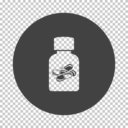 Pills bottle icon. Subtract stencil design on tranparency grid. Vector illustration. Ilustração