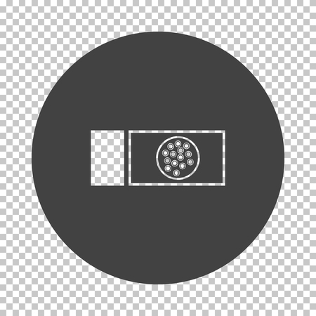 Bacterium glass icon. Subtract stencil design on tranparency grid. Vector illustration.