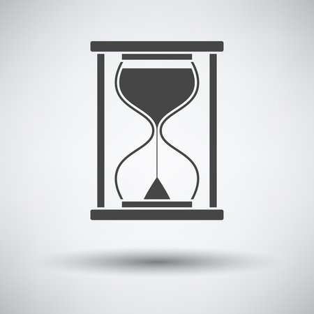 Hourglass Icon on gray background, round shadow. Vector illustration.
