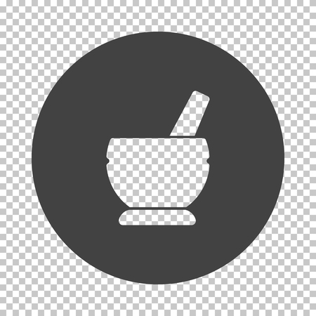 Mortar and pestel icon. Subtract stencil design on tranparency grid. Vector illustration. 스톡 콘텐츠 - 123665568