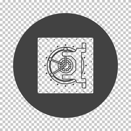 Safe icon. Subtract stencil design on tranparency grid. Vector illustration. Vektoros illusztráció