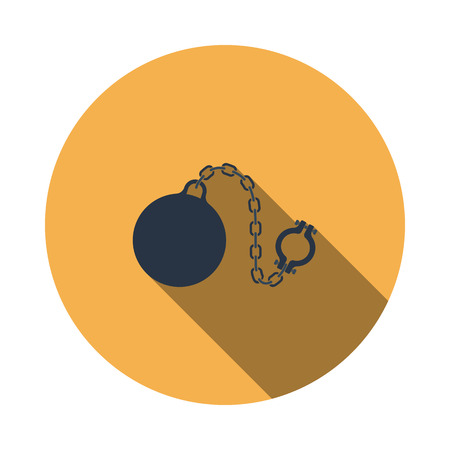 Fetter with ball icon. Flat Design Circle With Long Shadow. Vector Illustration. Illustration