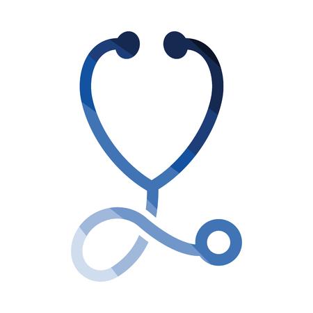 Stethoskop-Symbol. Flaches Farbdesign. Vektor-Illustration. Vektorgrafik