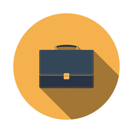 Suitcase icon. Flat Design Circle With Long Shadow. Vector Illustration.