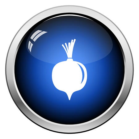 Beetroot  icon. Glossy Button Design. Vector Illustration.