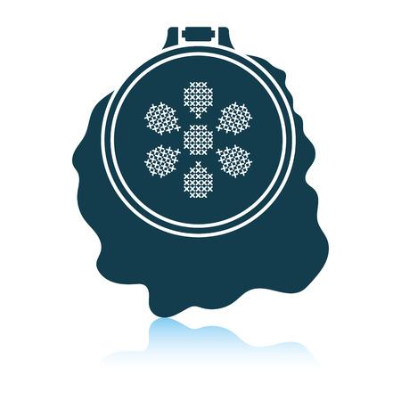 Sewing hoop icon. Shadow reflection design. Vector illustration. Stock Illustratie