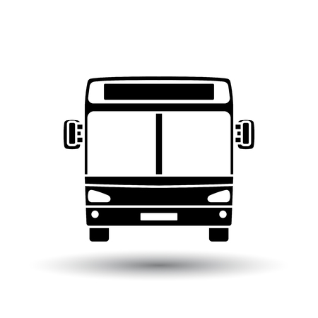 City bus icon front view. Black on White Background With Shadow. Vector Illustration.