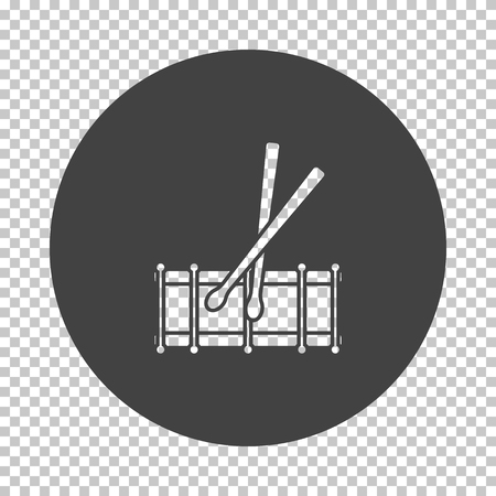 Drum toy icon. Subtract stencil design on tranparency grid. Vector illustration.