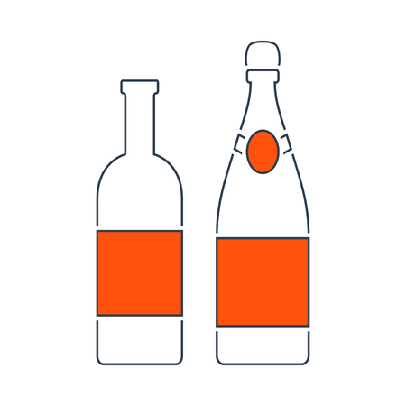 Icon Of Wine And Champagne Bottles. Thin Line With Red Fill Design. Vector Illustration.