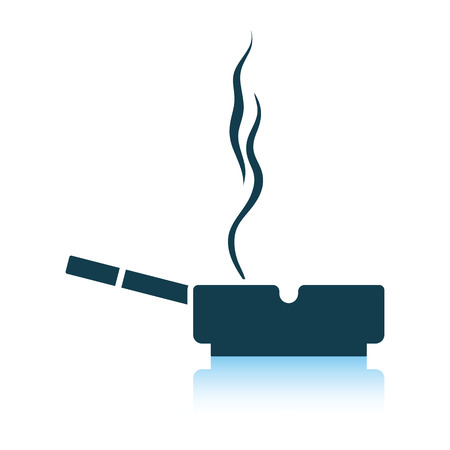 Cigarette in an ashtray icon. Shadow reflection design. Vector illustration. Illustration