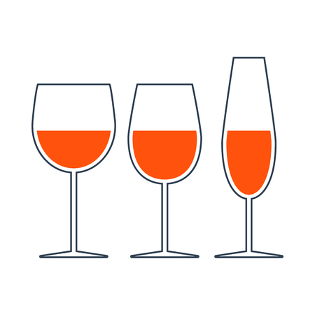 Icon Of Glasses Set. Thin Line With Red Fill Design. Vector Illustration. Illustration