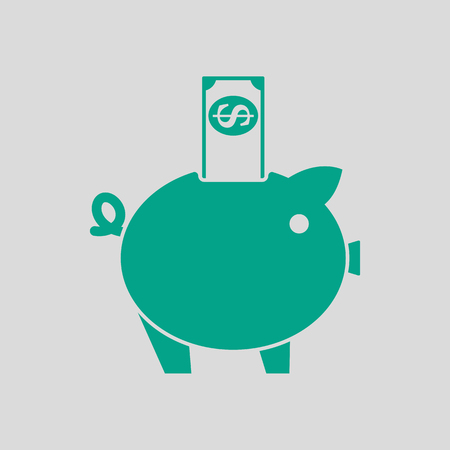 Piggy Bank Icon. Green on Gray Background. Vector Illustration.