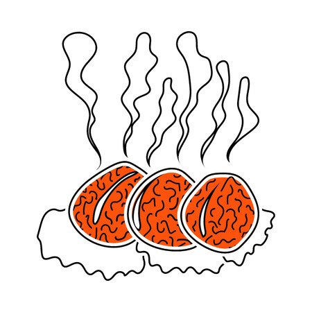 Icon Of Smoking Cutlet On Plate. Thin Line With Red Fill Design. Vector Illustration.