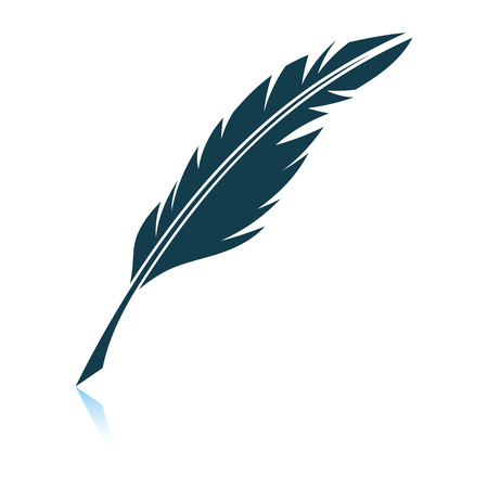 Writing feather icon. Shadow reflection design. Vector illustration.
