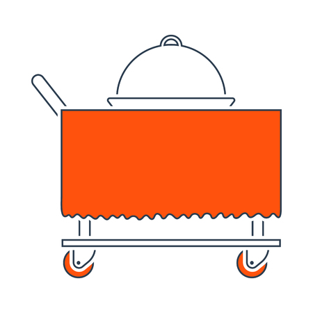 Icon Of Restaurant Cloche On Delivering Cart. Thin Line With Red Fill Design. Vector Illustration. Vektoros illusztráció