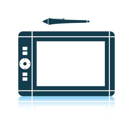 Graphic tablet icon. Shadow reflection design. Vector illustration.