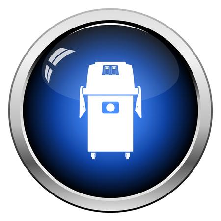 Vacuum cleaner icon. Glossy Button Design. Vector Illustration. 矢量图像
