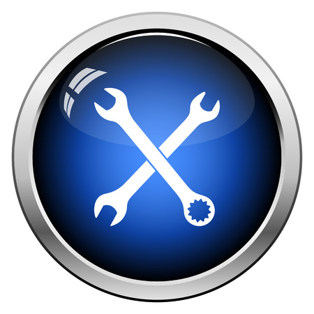 Crossed wrench  icon. Glossy Button Design. Vector Illustration. Illustration