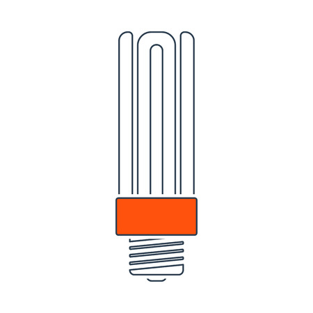 Energy Saving Light Bulb Icon. Thin Line With Red Fill Design. Vector Illustration. Vettoriali
