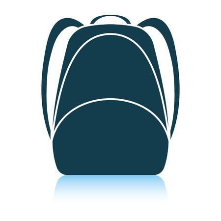 Icono de mochila escolar. Diseño de reflejo de sombra. Ilustración vectorial. Ilustración de vector