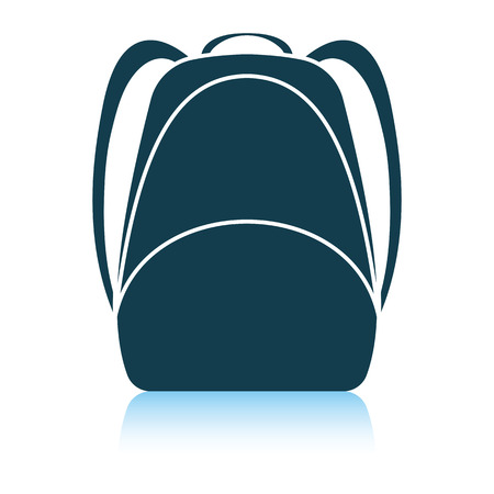 School rucksack  icon. Shadow reflection design. Vector illustration.