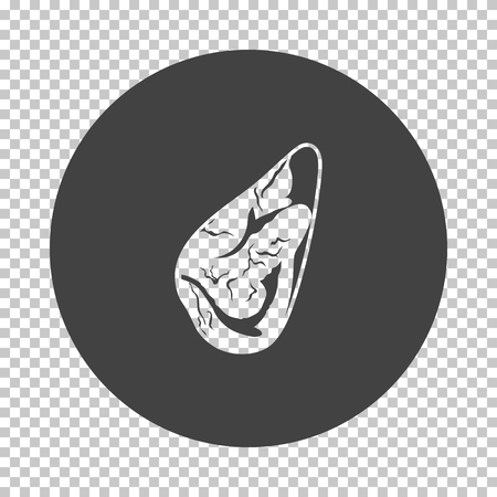 Meat steak icon. Subtract stencil design on tranparency grid. Vector illustration.
