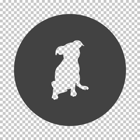 Puppy icon. Subtract stencil design on tranparency grid. Vector illustration. Illustration