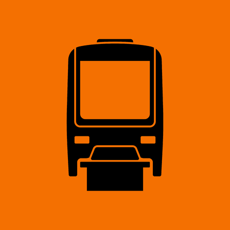 Monorail  icon front view. Black on Orange background. Vector illustration.