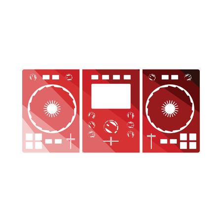DJ icon. Flat color design. Vector illustration.