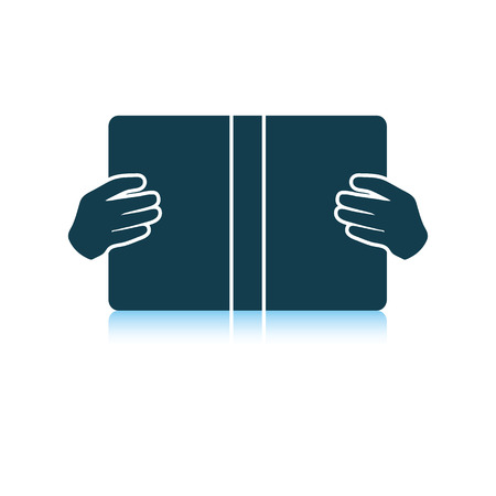 Boy reading book icon. Shadow reflection design. Vector illustration.