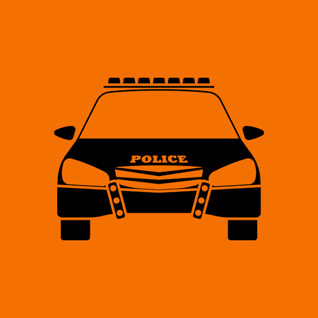 Police icon front view. Black on Orange background. Vector illustration. Vecteurs