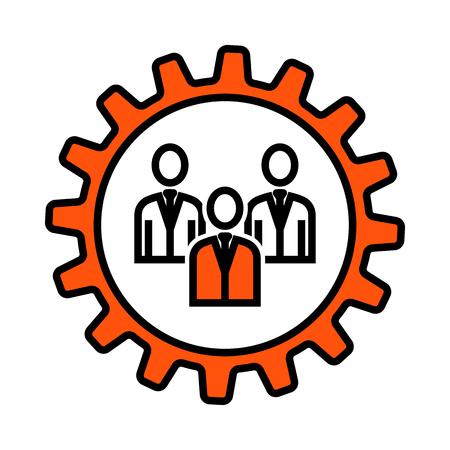 Teamwork Icon. Thin Line With Orange Fill Design. Vector Illustration.