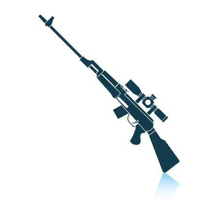 Sniper rifle icon. Shadow reflection design. Vector illustration.
