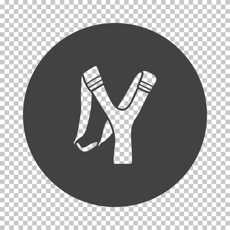 Hunting  slingshot  icon. Subtract stencil design on tranparency grid. Vector illustration.