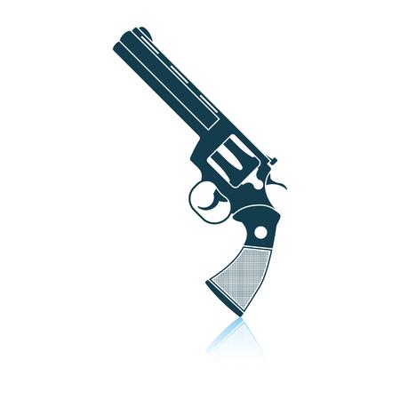 Revolver gun icon. Shadow reflection design. Vector illustration.