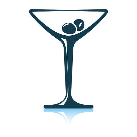 Cocktail glass icon. Shadow reflection design. Vector illustration.  イラスト・ベクター素材