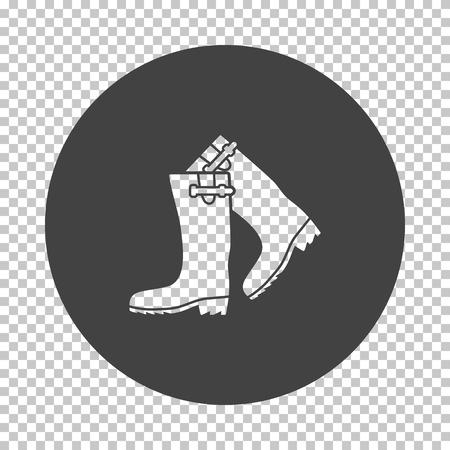 Hunter's rubber boots icon. Subtract stencil design on tranparency grid. Vector illustration.
