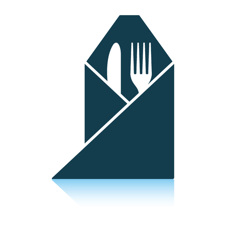 Fork and knife wrapped napkin icon. Shadow reflection design. Vector illustration.