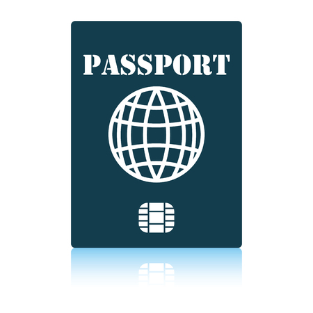 Passport with chip icon. Shadow reflection design. Vector illustration.