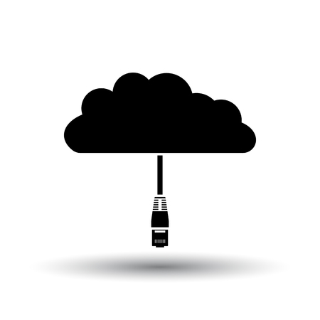 Network Cloud  Icon. Black on White Background With Shadow. Vector Illustration. Illusztráció