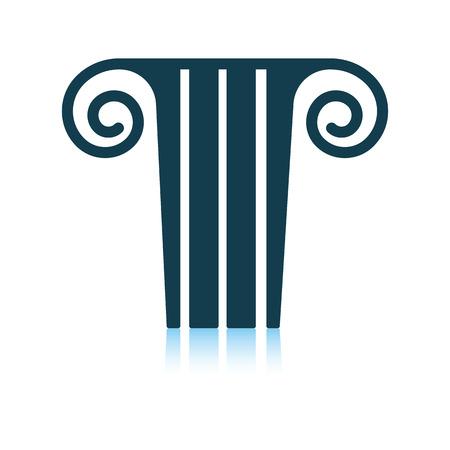 Antique column  icon. Shadow reflection design. Vector illustration.