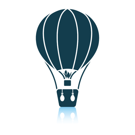 Hot air balloon icon. Shadow reflection design. Vector illustration.