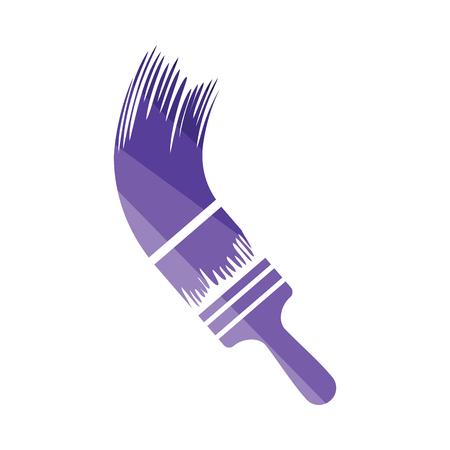Paint brush icon. Flat color design. Vector illustration.
