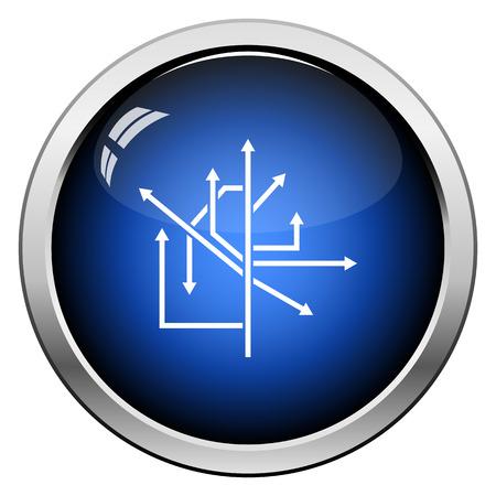 Direction Arrows Icon. Glossy Button Design. Vector Illustration.