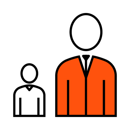 Man Boss With Subordinate Icon. Thin Line With Orange Fill Design. Vector Illustration. Иллюстрация